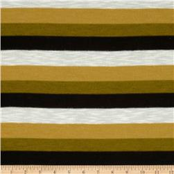 Yarn Dyed Hatchi Knit Stripes Gold