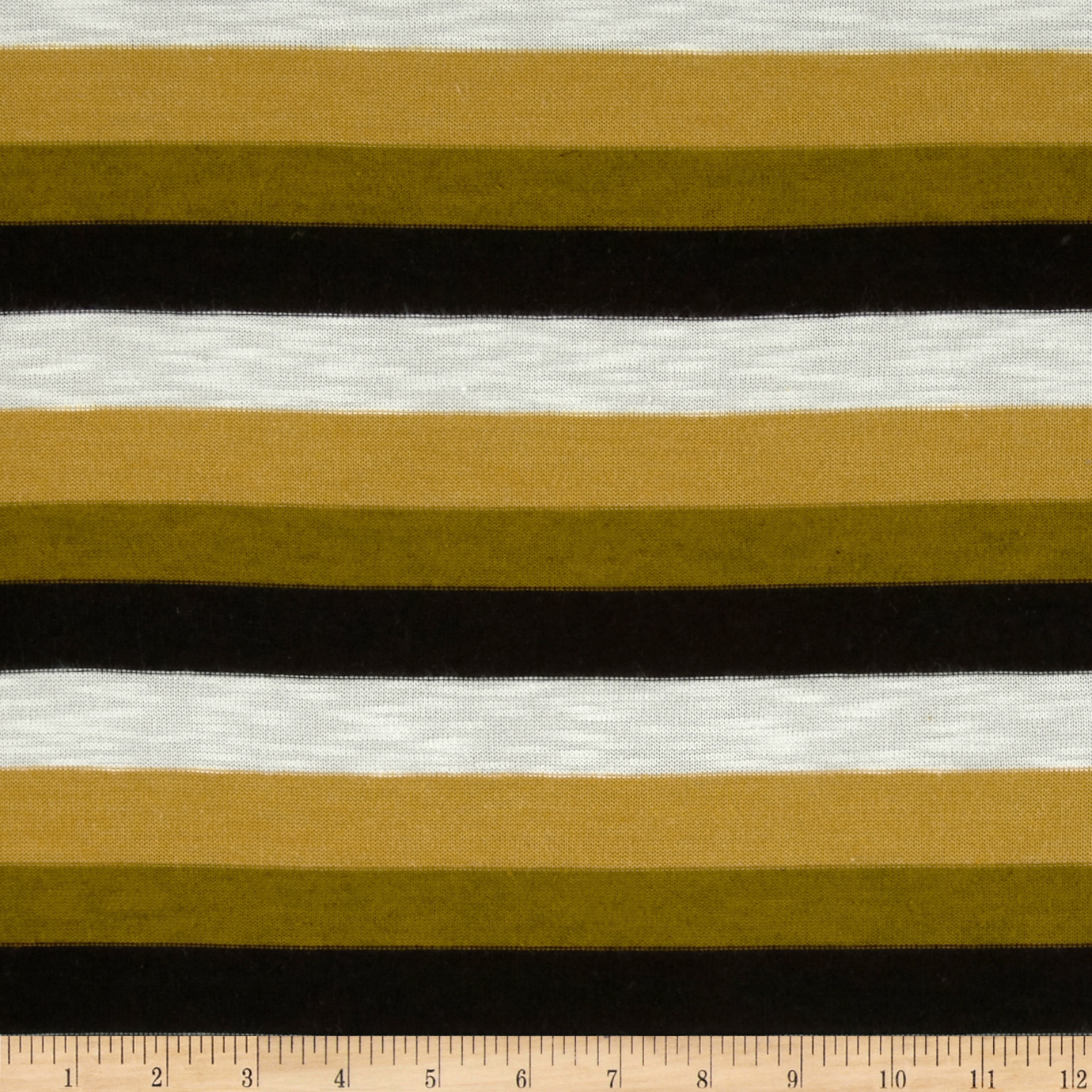 Yarn Dyed Hatchi Knit Stripes Gold Fabric