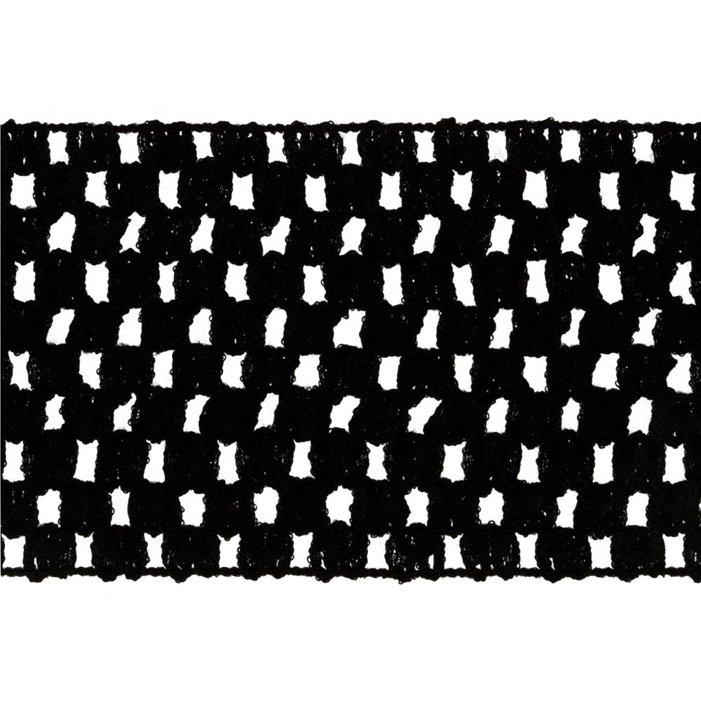 "2 3/4"" Crochet Headband Trim Black"