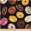Timeless Treasures Tossed Donuts Black