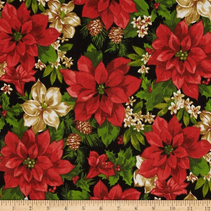 Traditional Holiday Poinsettias & Pine Cones Black