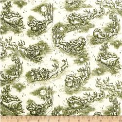 Christmas In The Woods Toile Santa's Sleigh Green