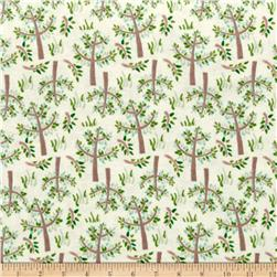 Jungle Giraffe Trees and Grass Flannel Cream