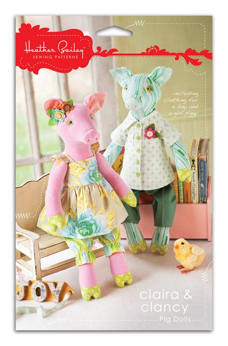Heather Bailey Claira & Clancy Pig Dolls Pattern