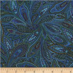 Timeless Treasures Tapestry Metallic Paisley Peacock