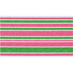 "1 1/2"" Grosgrain Stripes Pink/Green/White"