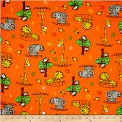Flannel Novelties Tossed  Zoo Animals Orange