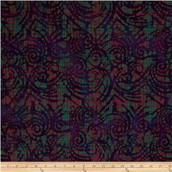 Indian Batik Plaid Scroll Purple