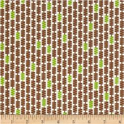 Zig Zag Stripe White/Brown/Green Fabric