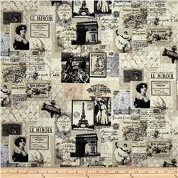 Letters from Paris Paris Map Collage Cream