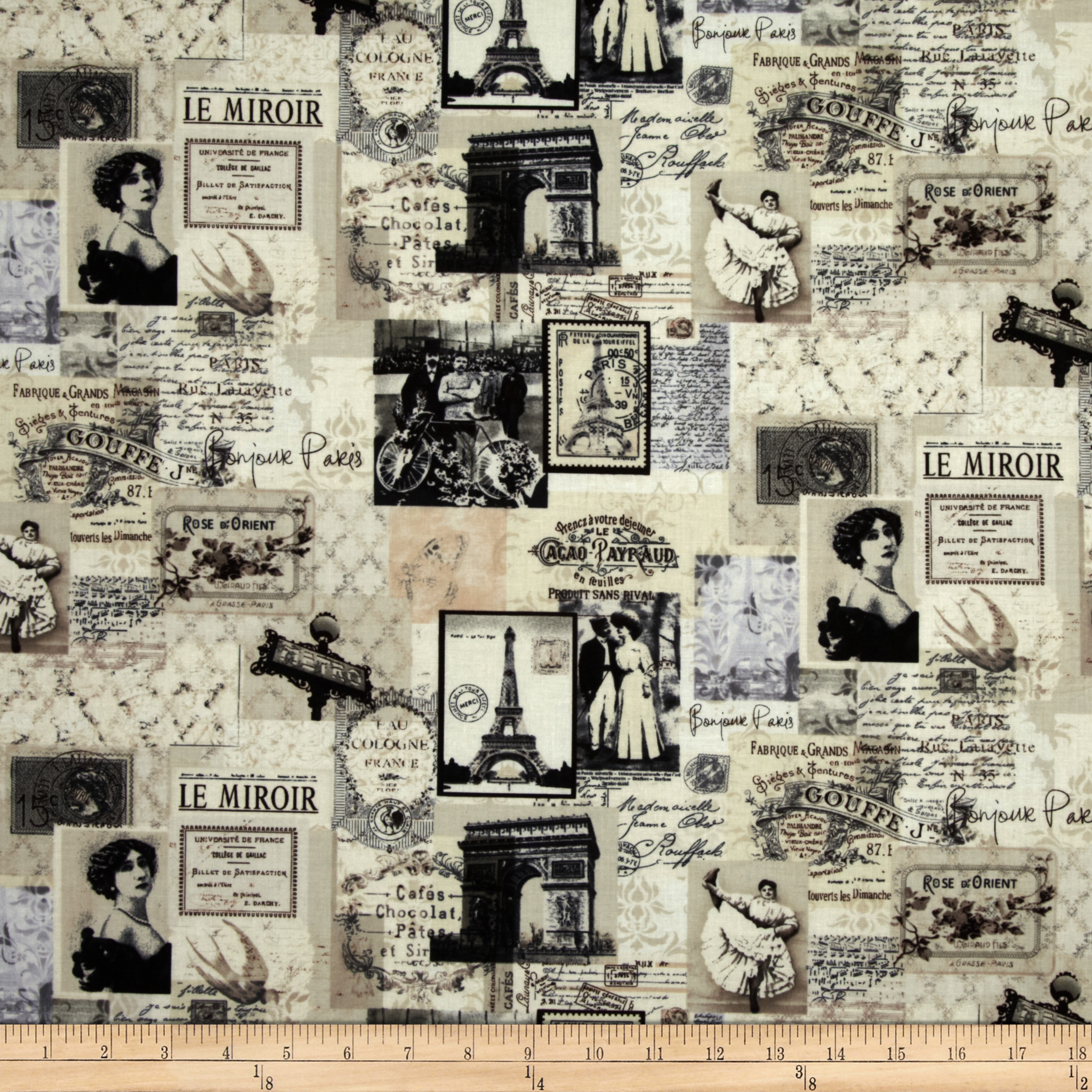 Letters from Paris Paris Map Collage Cream Fabric