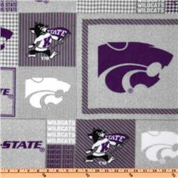 Collegiate Fleece Kansas State Plaid Blocks Purple/Gray Fabric