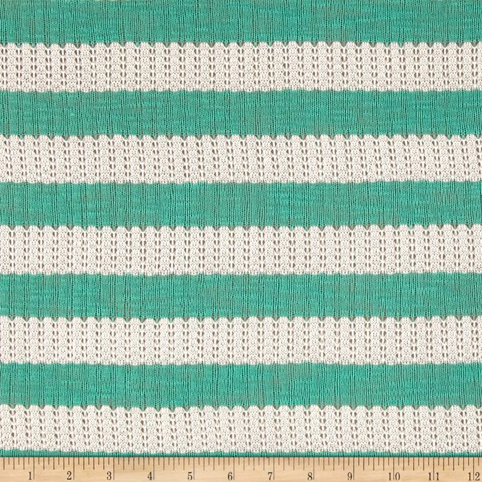 Sweater Knit Stripe Teal Fabric By The Yard
