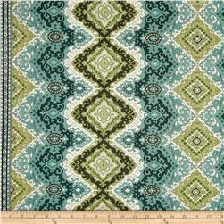 Palm Court Medallion Stripe Aqua Fabric