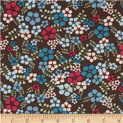 Stretch Poplin Floral Brown/Pink/Aqua
