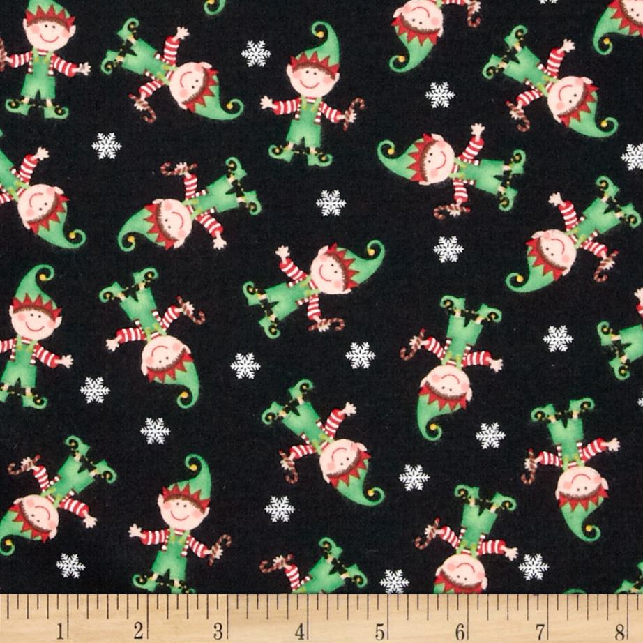 Timeless Treasures Jingle All the Way Flannel Elves Black