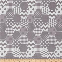 Riley Blake Hexi Print Grey Fabric