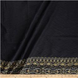 Embroidered Twill Sequin Cotton Double Border Aztec Paisley Black/Gold