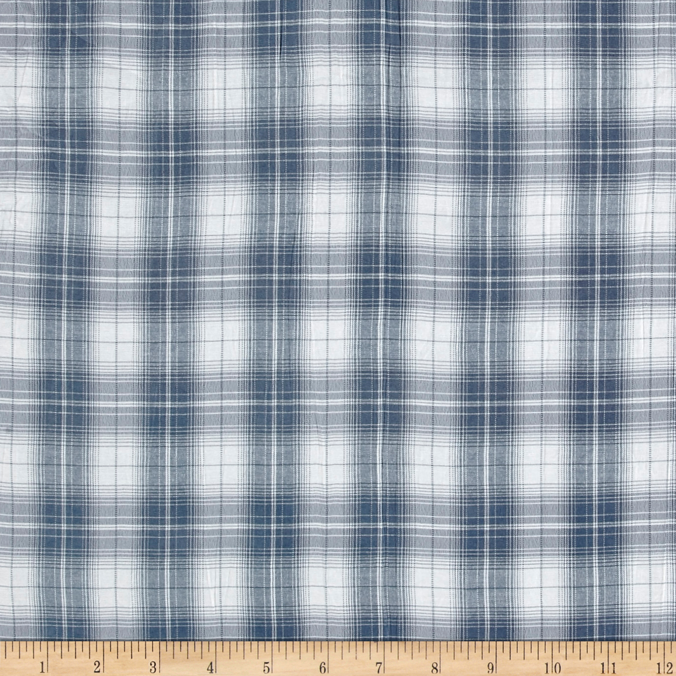 Burberry Designer 3-Ply Cotton Voile Plaid Blue/White Fabric 0528998
