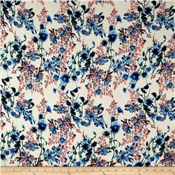 Rayon Crepe Floral Blue Apricot