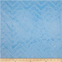 Minky Cuddle Embossed Chevron Baby Blue Fabric