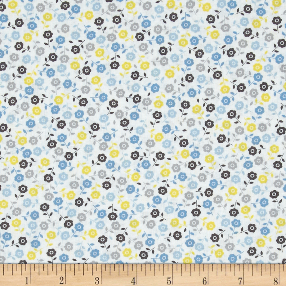 Wishing Well Floral Ditsy Blue Fabric