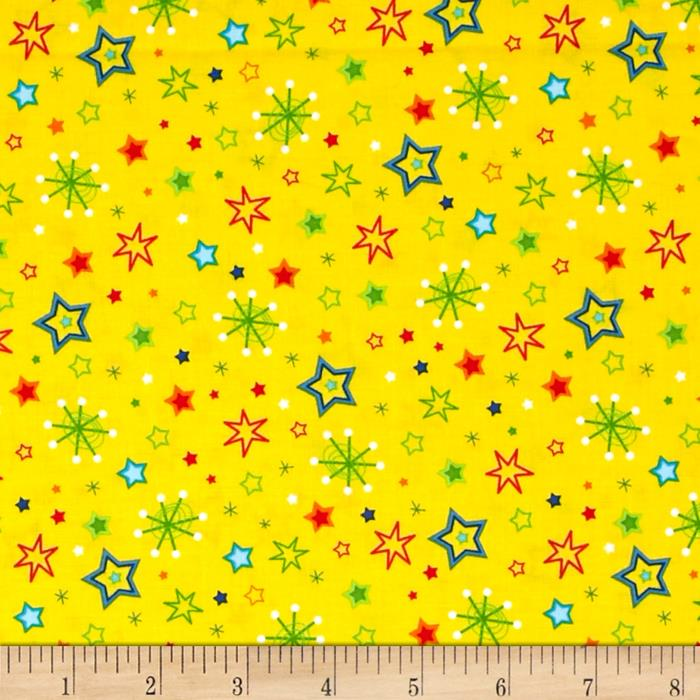 Spaced Out Stars And Galaxy Yellow