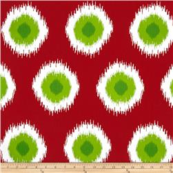 Premier Prints Ikat Domino Christmas Red/Green Fabric