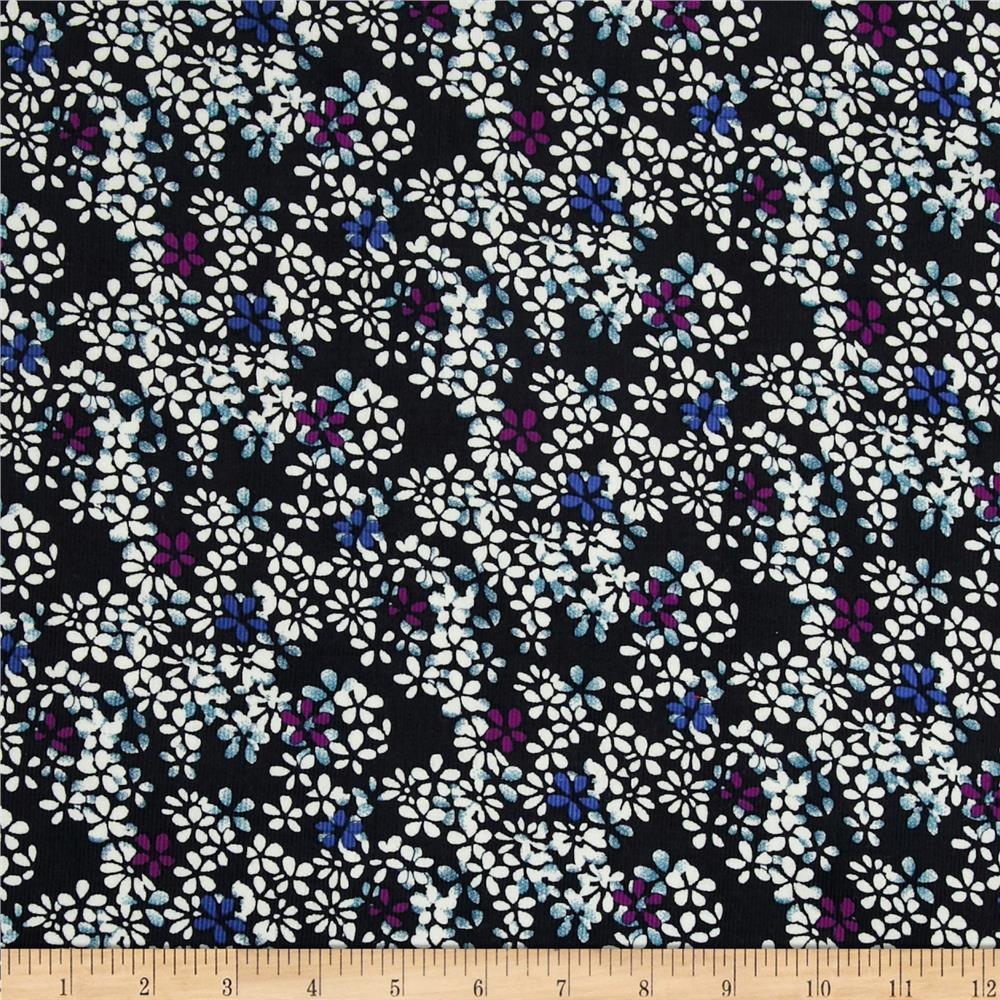 21 wale corduroy floral black discount designer fabric for Kids corduroy fabric