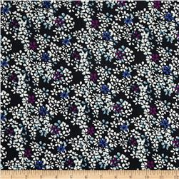 21 Wale Corduroy Floral Black Fabric