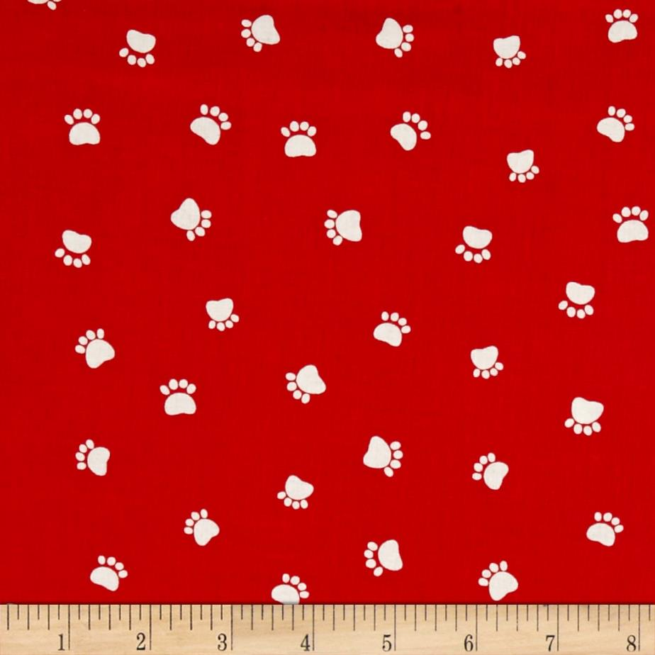Dog 39 s world paw prints red discount designer fabric for Cloth world fabrics