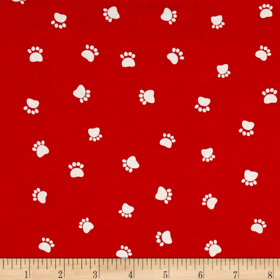 Dog's World Paw Prints Red Fabric