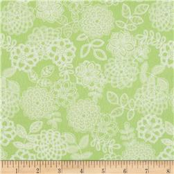 Butterfly Kisses Flannel Tonal Floral Green