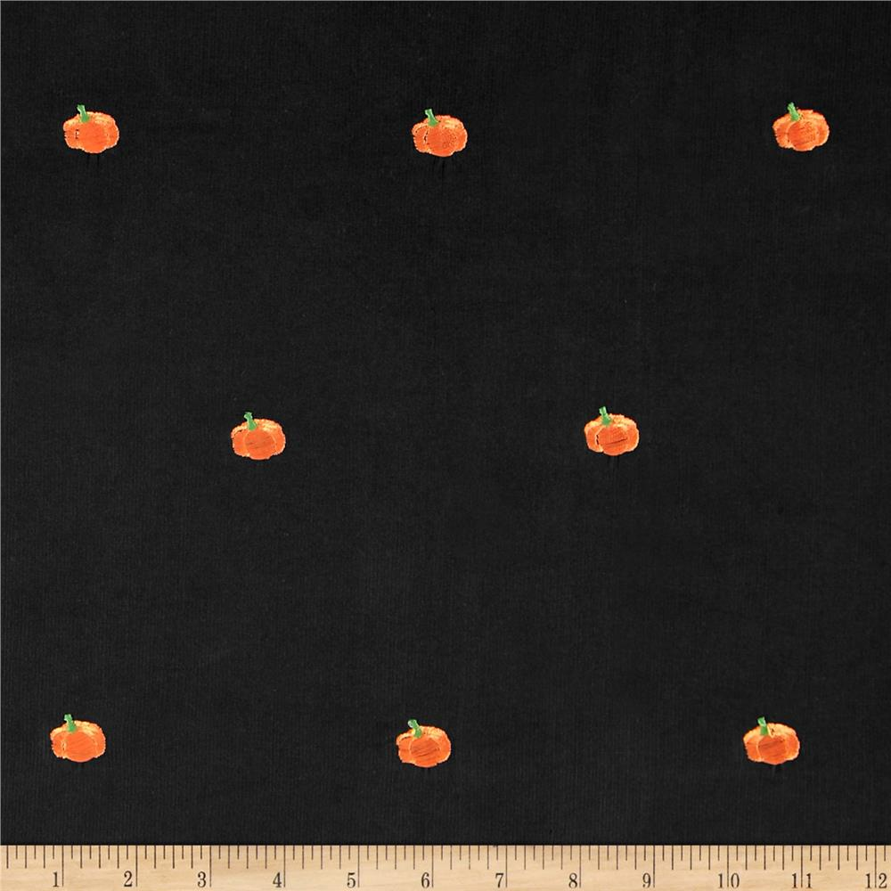 Embroidered 21 Wale Corduroy Pumpkin Black/Orange