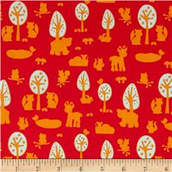 Woodland Park Animal Silhouette Red Fabric