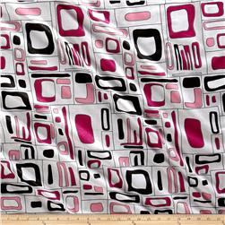Italian Designer Cotton Shirting Geo White/Pink/Silver
