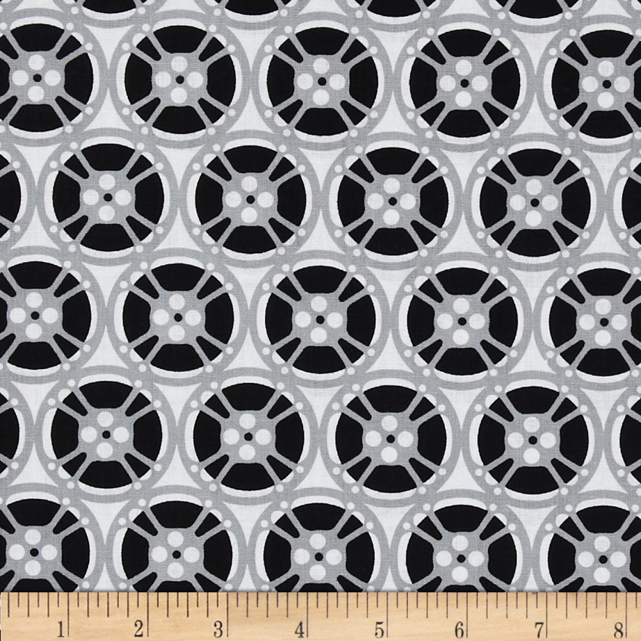 Timeless Treasures Wheels White/Black Fabric