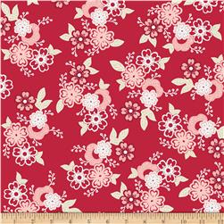 Riley Blake Raspberry Parlour Large Floral Red Fabric