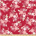 Riley Blake Raspberry Parlour Large Floral Red