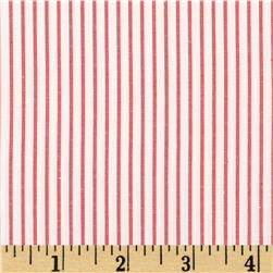 Cotton Stretch Poplin Stripes Red/Off White