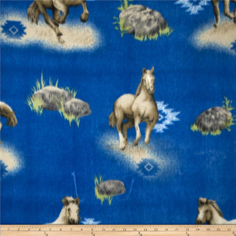 Printed Fleece Southwest Horse Blue