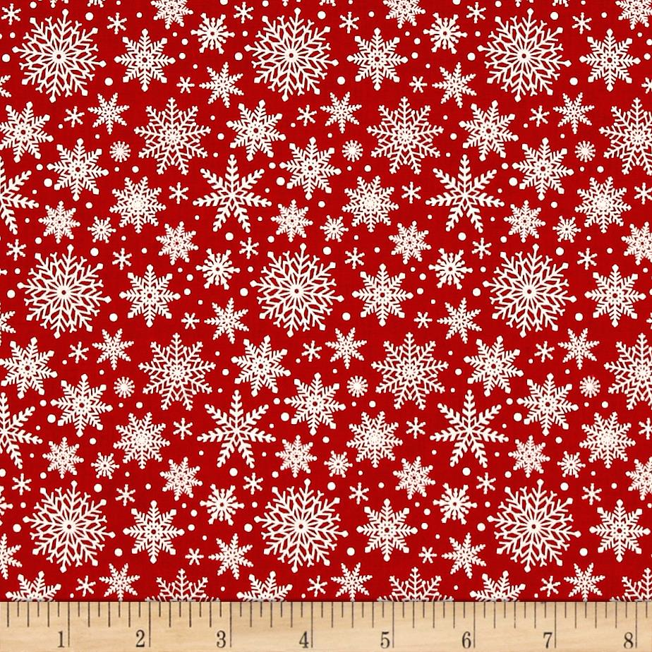 Riley Blake Comfort and Joy Snowflakes Red