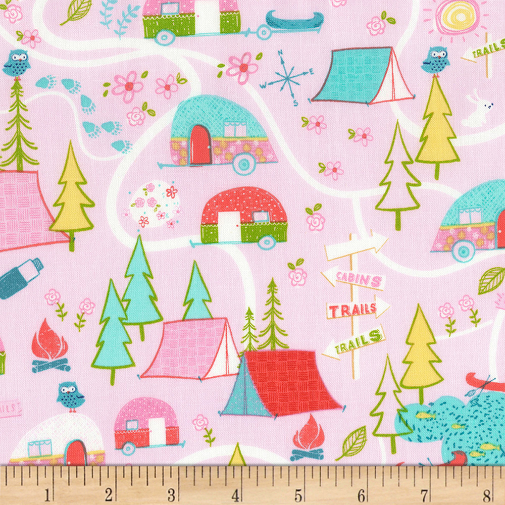 Timeless Treasures Happy Trails Camping Map Pink Fabric