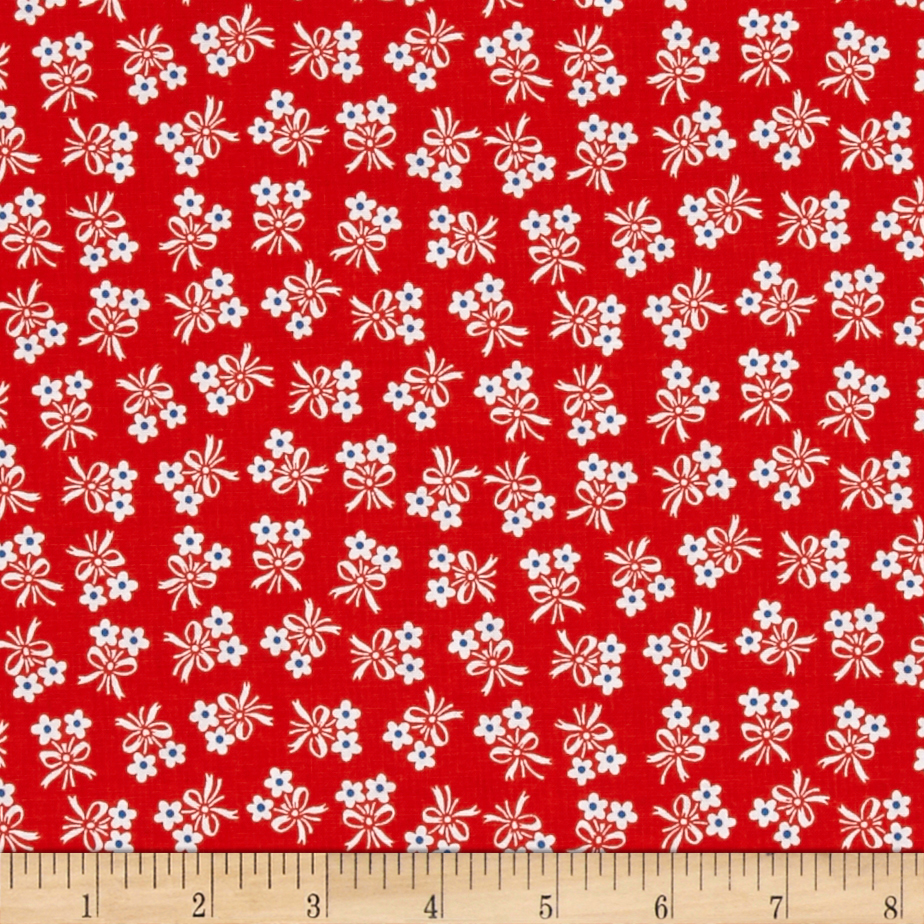 Penny Rose Strawberry Biscuit Daisy Red Fabric by Christensen in USA