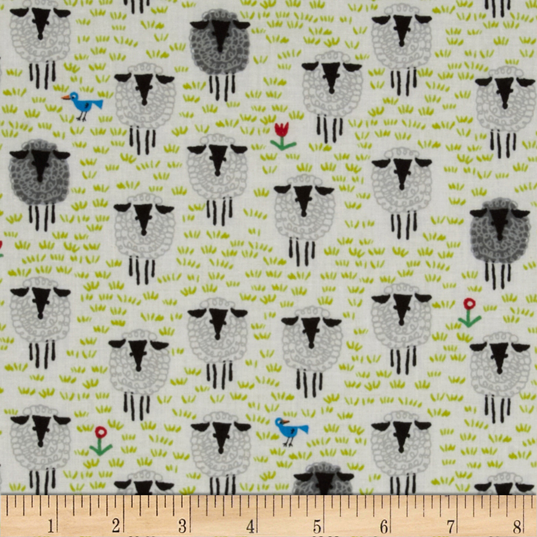 Happy Drawing Too Organic Sheep White Fabric