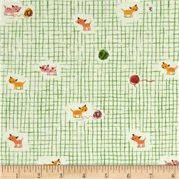 Heather Ross Tiger Lily Kittens and Yarn Green