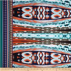 Scuba Kint Print Double Border Thermic Orange/Green