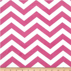 "Minky 3/4"" Chevron Hot Pink/White"