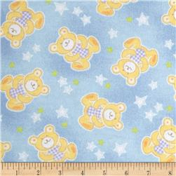 Newcastle Flannel Beary Stars Flannel Blue Fabric