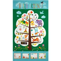 Moda Hello Friend 24 In. Treehouse Panel Bluebird